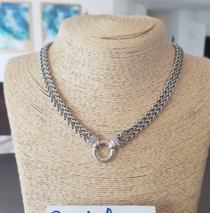 David Yurman Double Wheat Chain Diamond Necklace